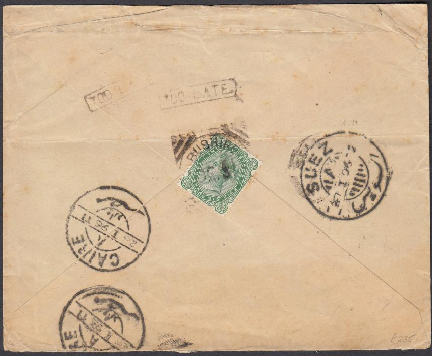 "INDIA (USED ABROAD) 1895 (DE 31) cover from BUSHIRE to Cairo franked on reverse by India 1892-96 2a.6p. yellow-green tied by fine large part strike of type Z16 (""C14"") ""BUSHIRE"" squared circle (still clearly showing ""E"" complete) with two strikes of boxed ""TOO LATE"" above (applied at the Bushire P.O.). Bold ""SUEZ"" (27 1 96) and ""CAIRE"" (28 1 96) transit and arrival cds alongside. Some cover creases but desirable with the ""TOO LATE"" marking."