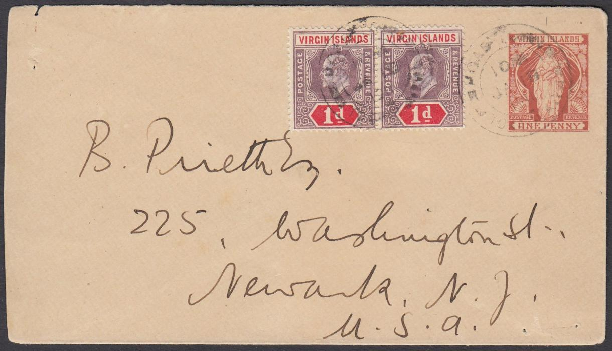 VIRGIN ISLANDS 1911 1d postal stationery envelope to Newark, NJ, United States up-rated pair KEVII 1d cancelled Road Town cds; reverse with St Thomas transit cds.
