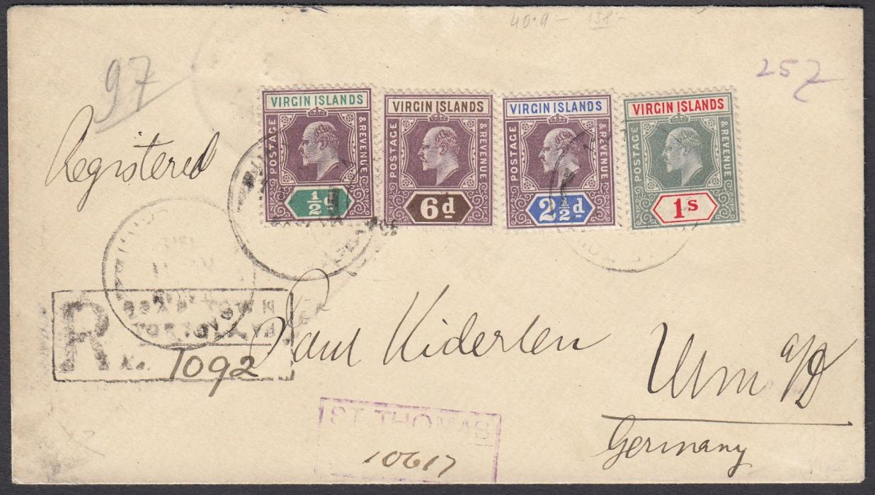 VIRGIN ISLANDS 1913 registered cover to Ulm, Germany, franked four KEVII values tied by Road Town/Tortola date stamp, local registration handstamp and violet St Thomas transit registration handstamp; reverse with St Thomas transit and arrival cds.