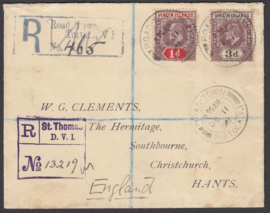 VIRGIN ISLANDS 1907 registered cover to Christchurch, Hants, England, franked KEVII 1d and 3d tied by Road Town/Tortola date stamp, local registration handstamp and violet St Thomas/D.W.I. transit registration handstamp; reverse with St Thomas transit and London transit cds.