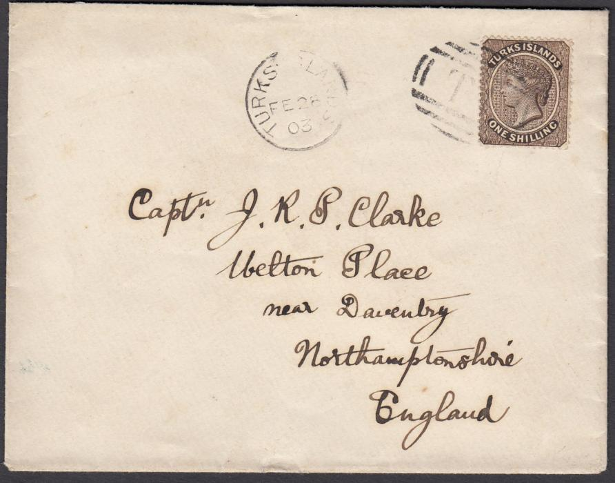 TURKS ISLANDS 1903 cover to England bearing single franking 1s tied TIobliterator with Turks Islands cds in association; arrival backstamp. Fine clean condition.