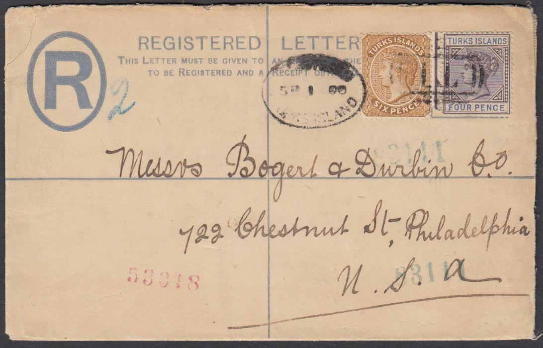 TURKS ISLANDS 1900 2d postal stationery registration envelope, up-rated 4d & 6d, tied by barred T1 cancel and part by oval Registered/Turks Island date stamp, addressed to Philadelphia, United States; New York transit on reverse.