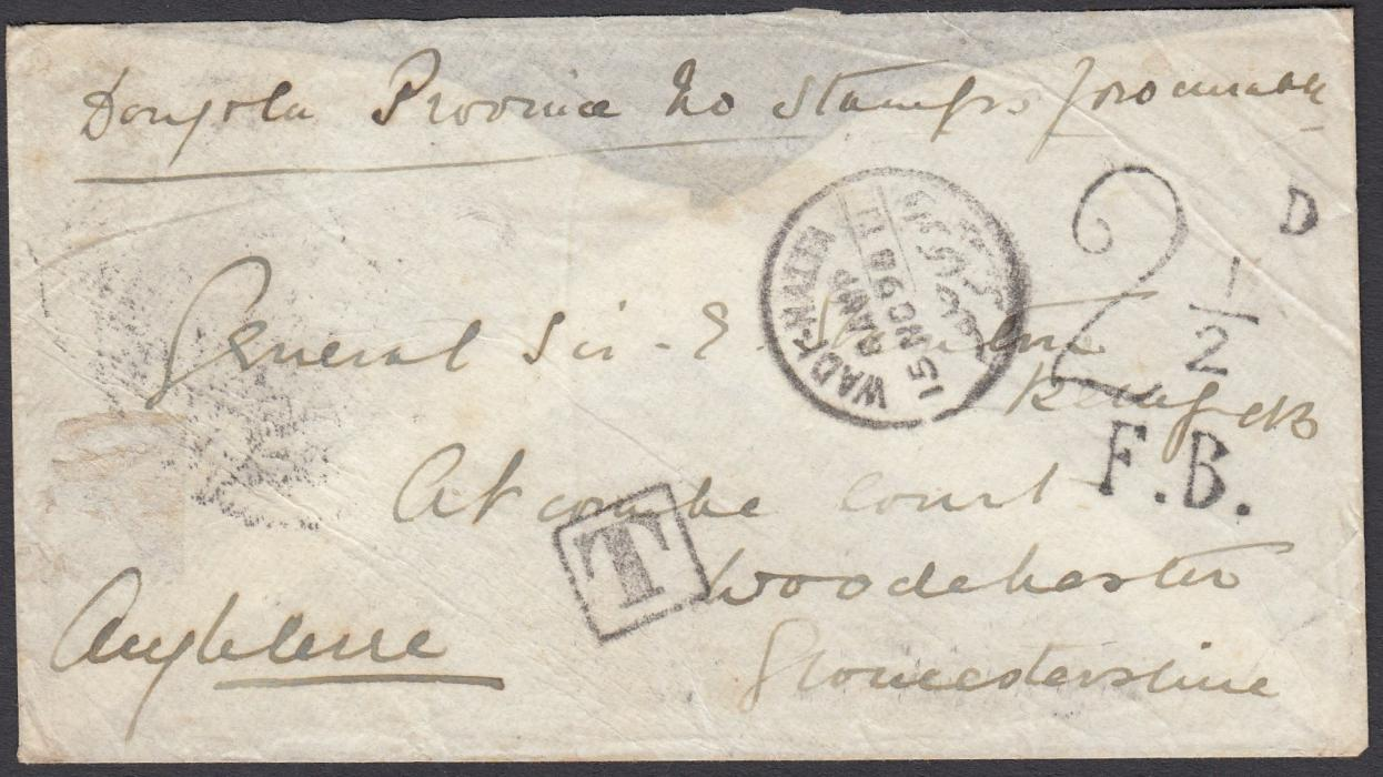 "SUDAN 1896 stampless cover to England endorsed ""No stamps available"" with Wadi-Halfa despatch cds, framed T handstamp and 2�dD/F.B. charge applied at London, reverse with Caire transit cds; without back flap, scarce."