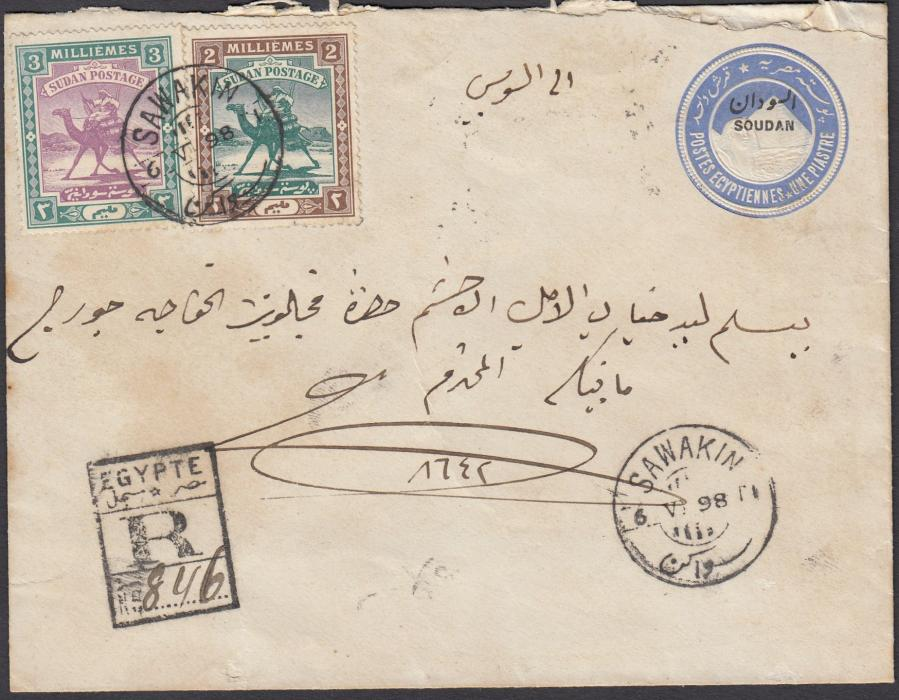 SUDAN 1898 One Piastre postal stationery envelope, registered, up-rated with 2m and 3m cancelled SAWAKIN cds, SUEZ backstamp; slightly roughly opened top right.