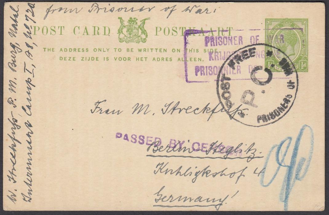 SOUTH AFRICA (Prisoner of War) 1915 ½d postal stationery card to Germany with framed three-line PRISONER OF WAR handstamp overstruck POST FREE/P.C./PRISONERS OF WAR handstamp and below this straight-line