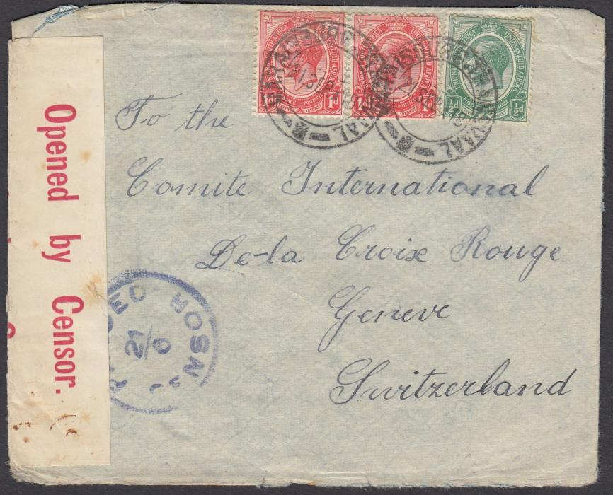 SOUTH AFRICA 1918 censored envelope to the Red Cross at Geneva, Switzerland, franked KGV �d and 1d (2) tied MARAISBURG-TRANSVAAL cds. Written b;y German POW on parole at Maraisburg.