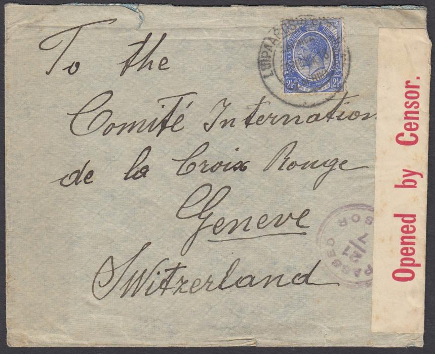 SOUTH AFRICA 1918 censored envelope to the Red Cross at Geneva, Switzerland, franked KGV 2�d tied LUIPAARDS-TRANSVAAL cds. Written by German POW on parole at Maraisburg.