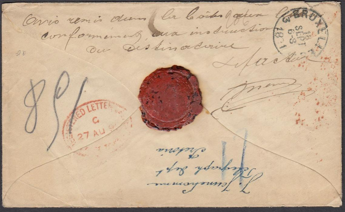 SOUTH AFRICA (Transvaal) 1891 registered cover to Belgium, franked with 1d, 2d (pair) and 6d tied with framed PRETORIA registered handstamps, reverse with Cape Town registered transit date stamp and BRUSSELS arrival, re-addressed upon arrival with postmans manuscript explanation on the reverse.