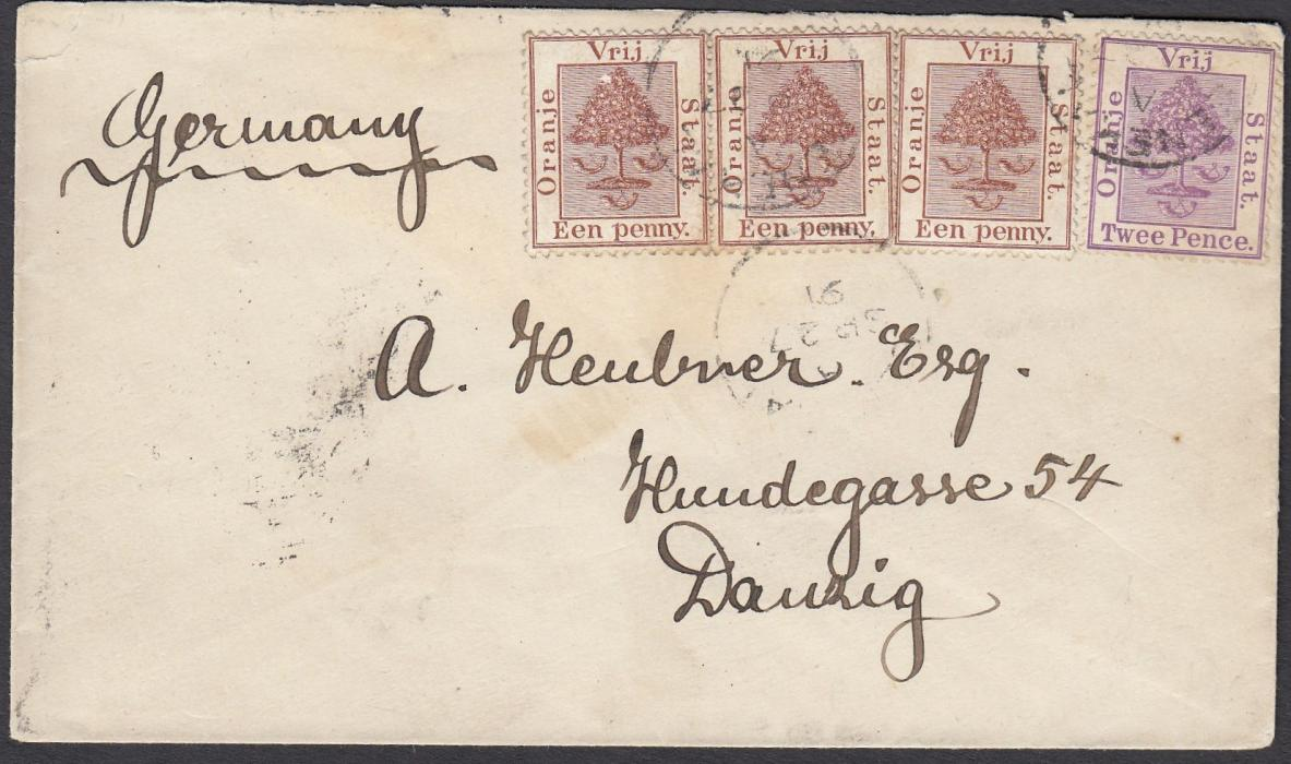 SOUTH AFRICA (Orange Free State) 1887 cover to Danzig franked 1d (2) and 2d tied unclear despatch cancels, reverse with BLOEMFONTEIN transit and further unclear cds. An unusual destination.