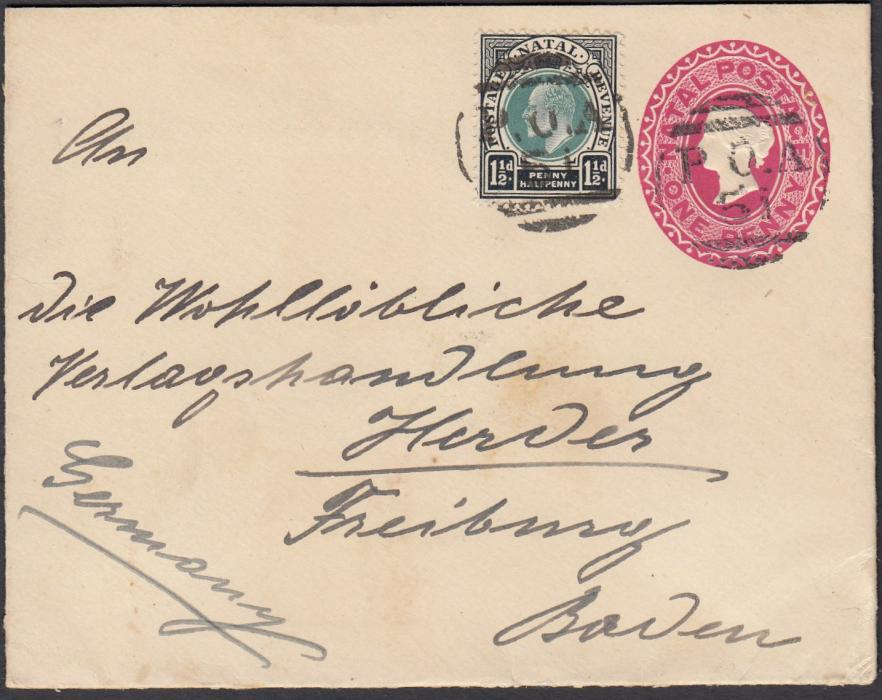 SOUTH AFRICA (Natal) 1905 up-rated 1d postal stationery envelope from Trappist Monastery to Freiburg, Germany tied fine P.O.A./51 handstamps, reverse with PINETOWN cds and arrival cancel.