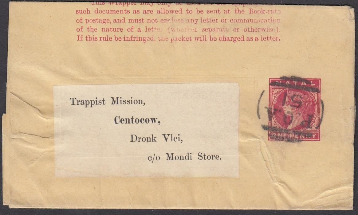 SOUTH AFRICA (Natal) Internal undated 1d postal stationery wrapper to Trappist Mission, Dronk Vlei, cancelled by fine P.O.A./51 handstamp; no backstamps.