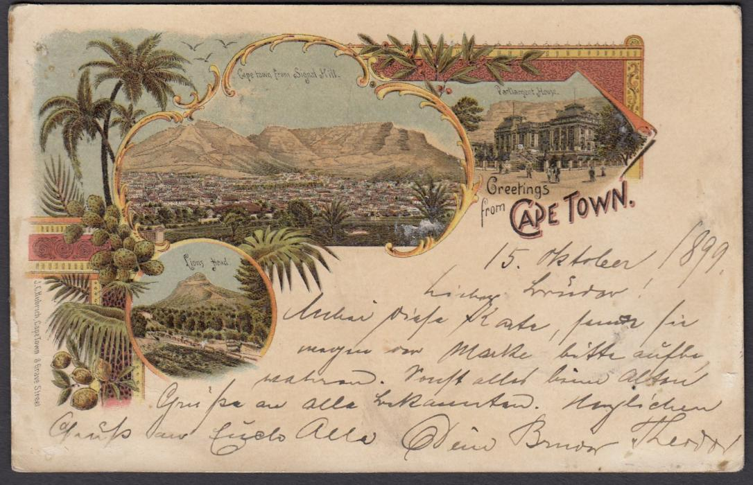 "SOUTH AFRICA (Cape of Good Hope) 1899 1d overprinted stationery card entitled ""Greetings from Cape Town"" showing colour images, used from Alfred Docks to Hamburg."