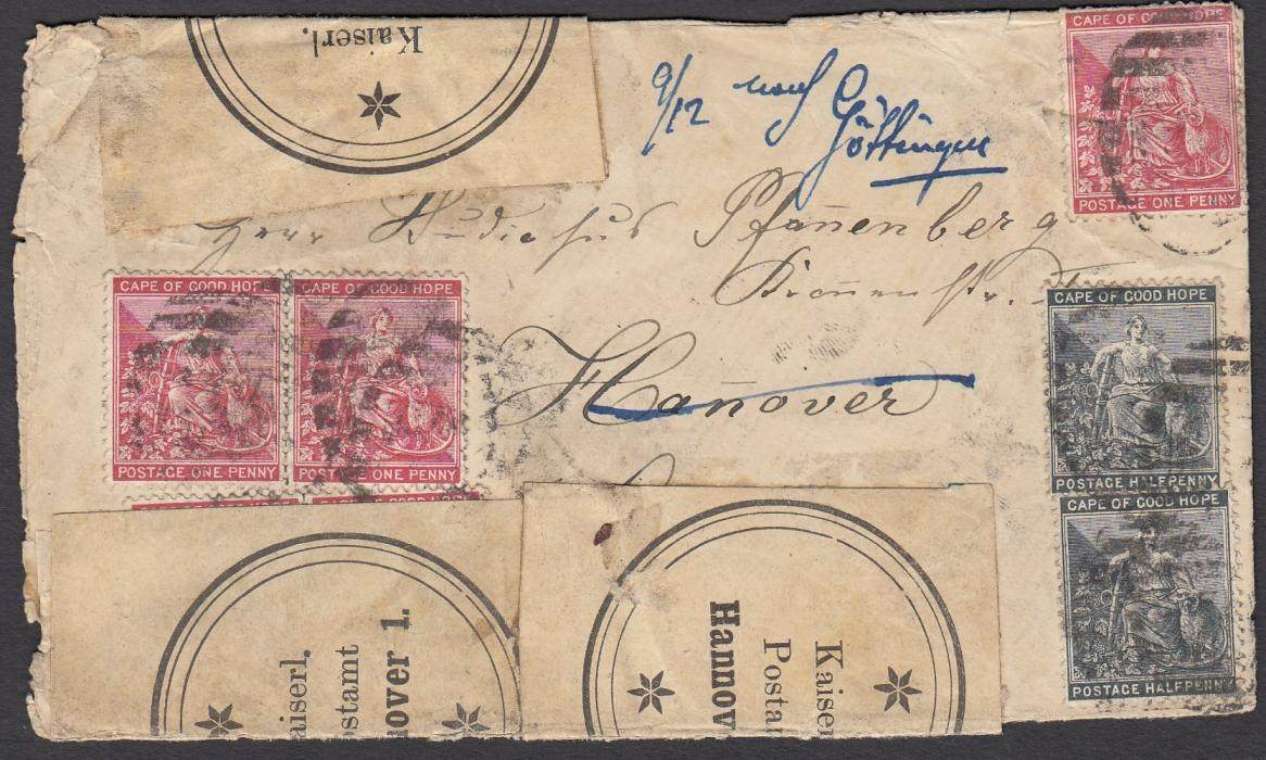 "SOUTH AFRICA (Cape of Good Hope) 1891 cover to Hannover, Germany, franked �d (2) and 1d (3) with barred numeral cancel with MONFACU date stamp in association on reverse. Envelope reinforced on arrival with ""Kaiserl. Postamt Hannover 1"" labels. Re-directed to Gottingue two days later."