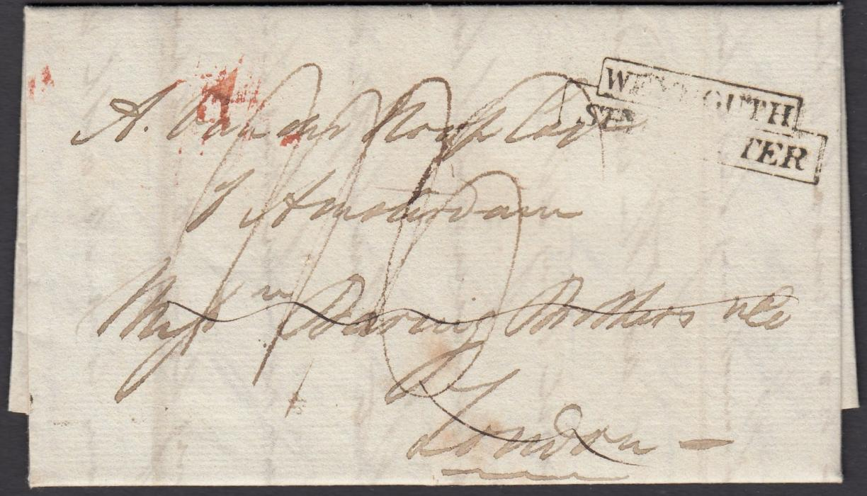 "SOUTH AFRICA (Cape of Good Hope) 1826 entire to Amsterdam bearing manuscript rate markings and stepped WEYMOUTH/SHIP LETTER handstamp, forwarded through London by ""Baring Brothers"". The reverse of entire suggests that the entire was forwarded from Amsterdam to Batavia, Netherlands Indies."