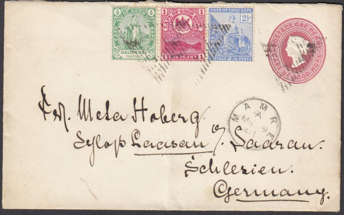 SOUTH AFRICA (Cape of Good Hope) 1901 1d postal stationery envelope to Germany additionally franked �d, 1d and 2�d tied triangular handstamps with MAMRE cds in association below; arrival backstamp.