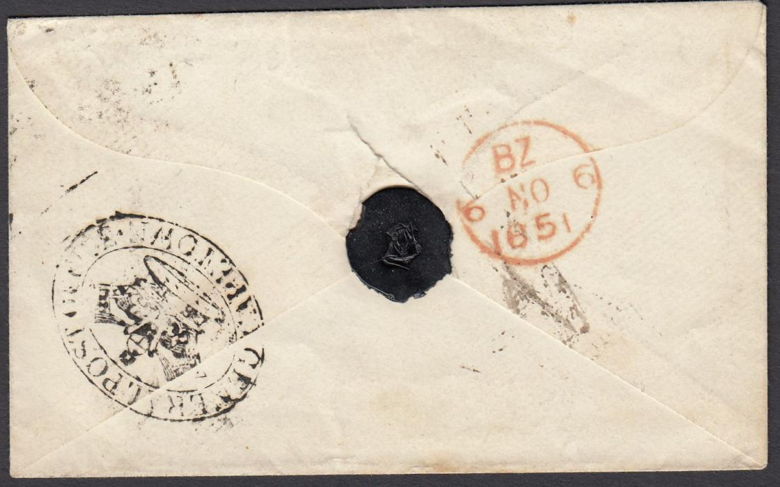 SOUTH AFRICA (Cape of Good Hope) 1851 cover to London cancelled on reverse with GENERAL POST OFFICE/CROWN/CAPETOWN handstamp; red arrival cds.