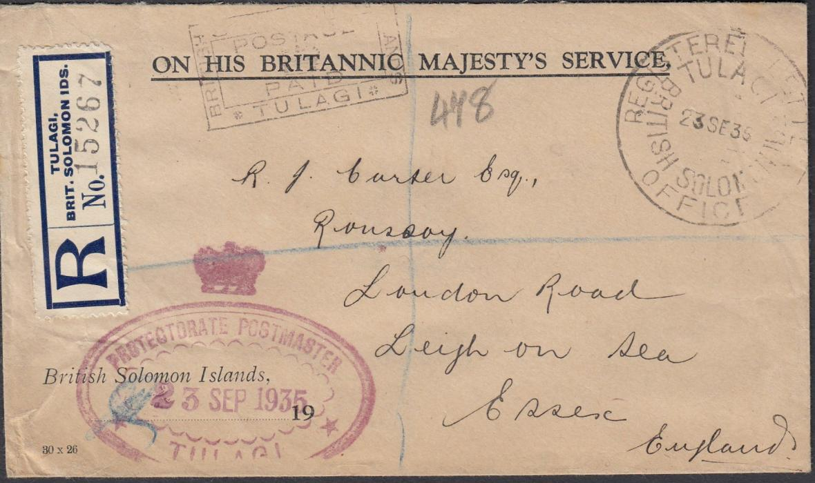 BRITISH SOLOMON ISLANDS 1935 On His Britannic Majestys Service registered stampless cover to England bearing POSTAGE/PAID handstamp, large TULAGI date stamp and Postmasters handstamp, reverse with SYDNEY transit and SOUTHEND-ON-SEA transit.