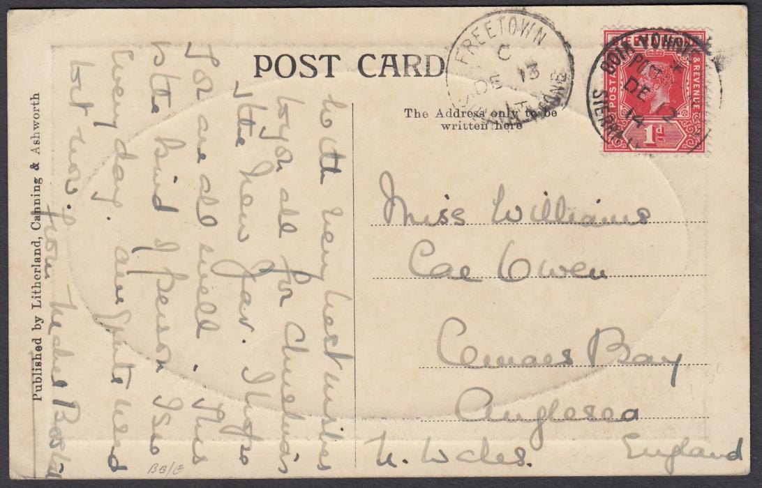 SIERRA LEONE (Travelling Post Office) 1913 picture post card to the United States franked 1d, tied good strike of scarce BOM-YONNIE T.P.O.; fine condition.