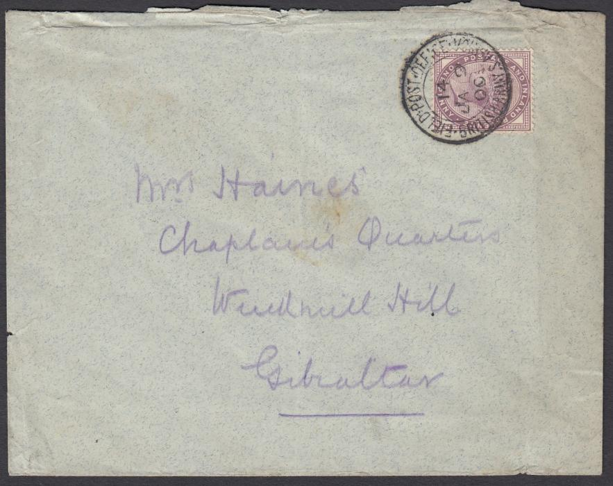 "SOUTH AFRICA (Boer War) 1900 (JA 9) cover addressed to ""Chaplains Quarters"", GIBRALTAR, franked Great Britain 1d lilac tied FIELD POST OFFICE/BRITISH ARMY S. AFRICA, index 14; reverse with MAAUWPOORT C.G.H. cds of 11 JA and arrival cds of FE 8."