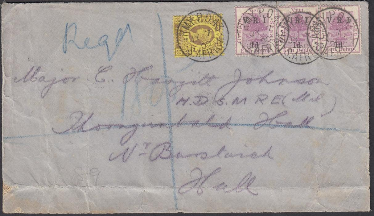 SOUTH AFRICA (Boer War) 1900 (JY 7) registered cover to HULL bearing mixed franking of Orange Free State and Great Britain tied ARMY P.O. 43/S. AFRICA cds, repeated on reverse and with arrival cancels.
