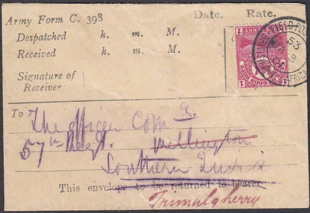 SOUTH AFRICA (Boer War) 1901 (JA 3) printed envelope from Middleburg to Wellington, Southern India franked 1d tied FIELD POST OFFICE/BRITISH ARMY S. AFRICA, index 53 cds; reverse with DE AAR/C.G.H. transit of same date and arrival cancels.
