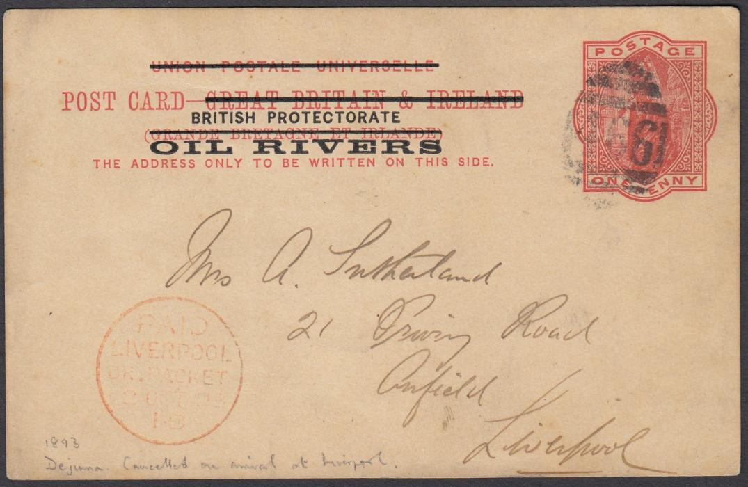 NIGERIA (Oil Rivers) 1893 Great Britain overprinted 1d postal stationery card to Liverpool, with message, written from Dejimna, not cancelled on despatch but on arrival at Liverpool with 466 obliterator over stamp image, red PAID/LIVERPOOL cds at left.