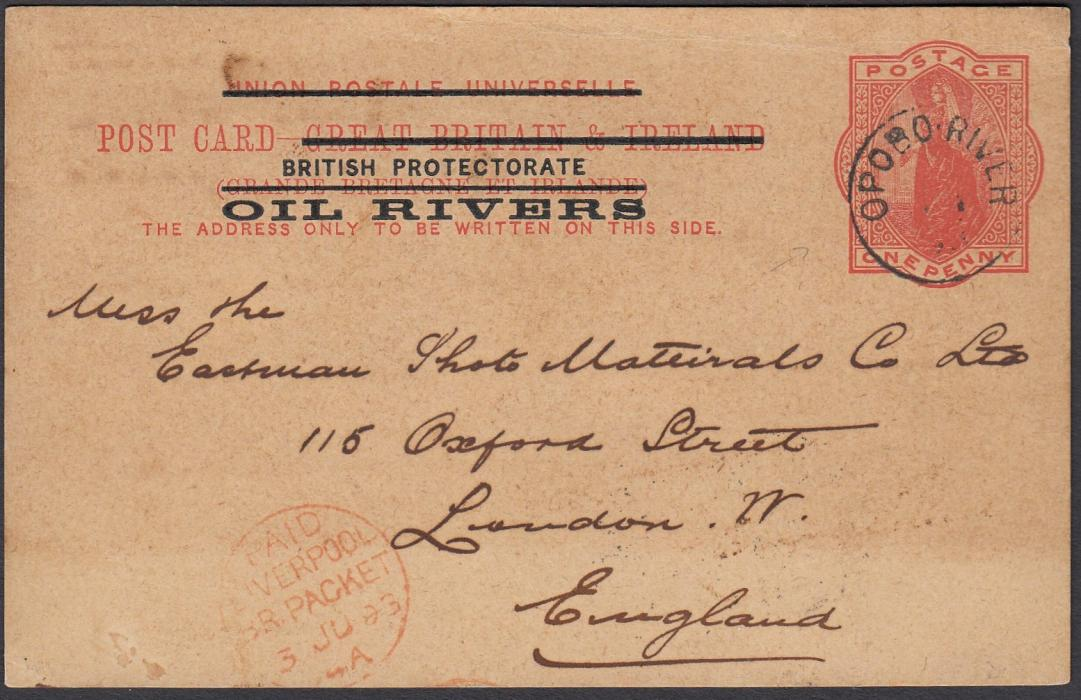 NIGERIA (Oil Rivers) 1893 1d postal stationery card to London cancelled OPOBO RIVER date stamp, red PAID/LIVERPOOL transit.
