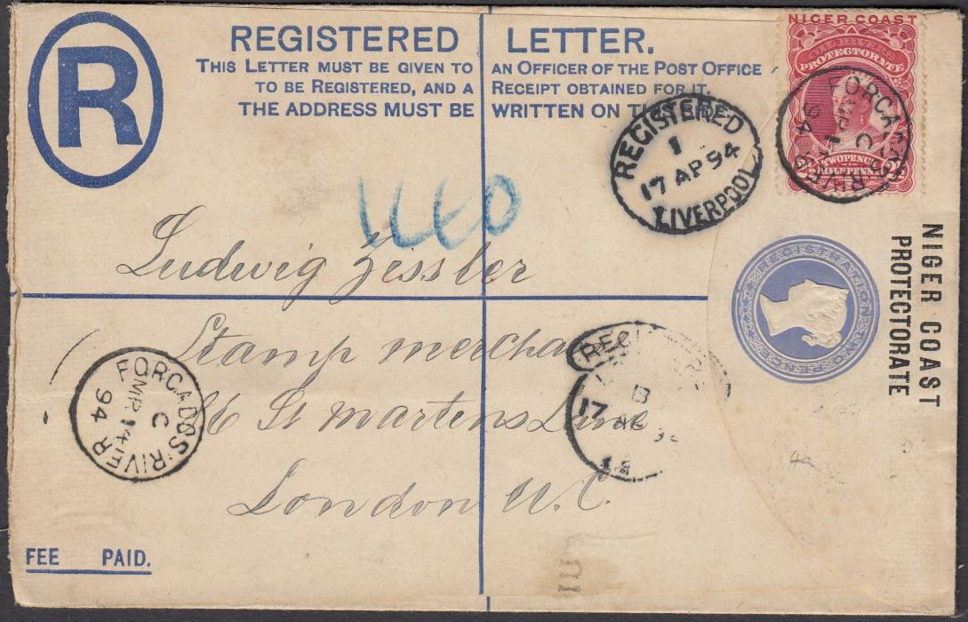 NIGER COAST 1894 (MR 14) registered stationery envelope, up-rated 2�d to London and tied fine FORCADOS RIVER, index C (scarce) cds. LIVERPOOL transit and LONDON arrival cancels.
