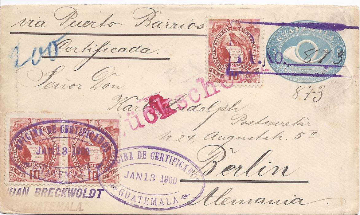 Guatemala 1900 5c. postal stationery envelope registered to Berlin uprated three 10c. Quetzal, cancelled with registration handstamp at top and oval registration office date stamp at base, sent with advise of receipt as shown by arrival handstamp.