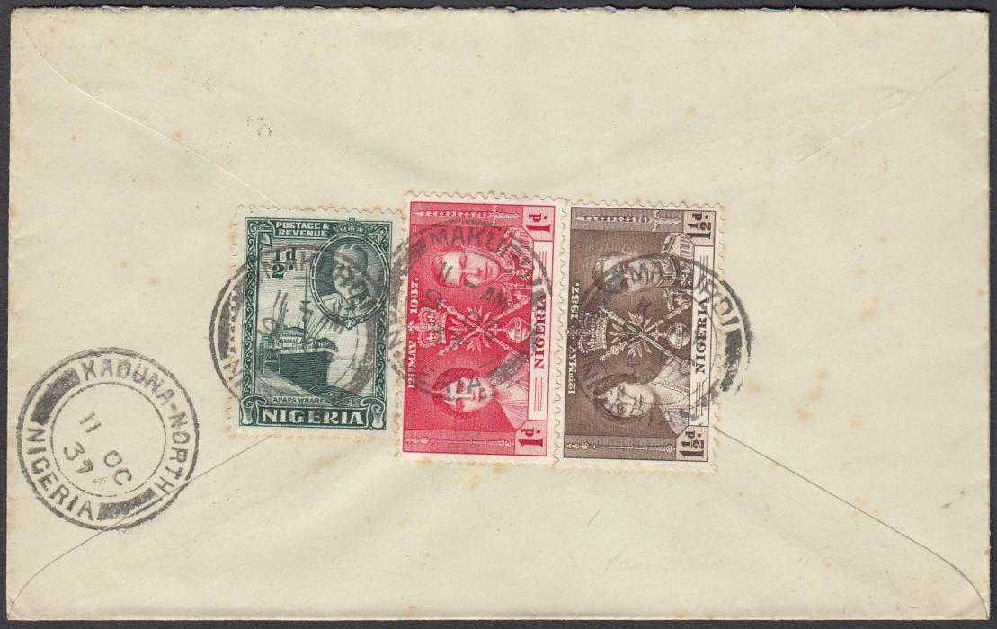 NIGERIA 1937 air mail cover to England franked Coronation set of three and KGV �d tied MAKURDI cds, KADUNA-NORTH transit cds at left; good quality.