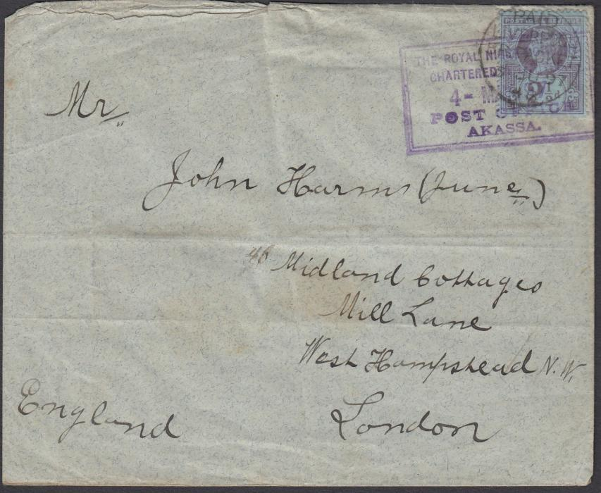 NIGERIA (Niger Coast) 1898 (4 MAR) cover to London franked by Great Britain Jubilee 2�d tied by framed AKASSA date stamp and also tied by PAID/LIVERPOOL/BR PACKET cds, arrival backstamp; some slight creasing.