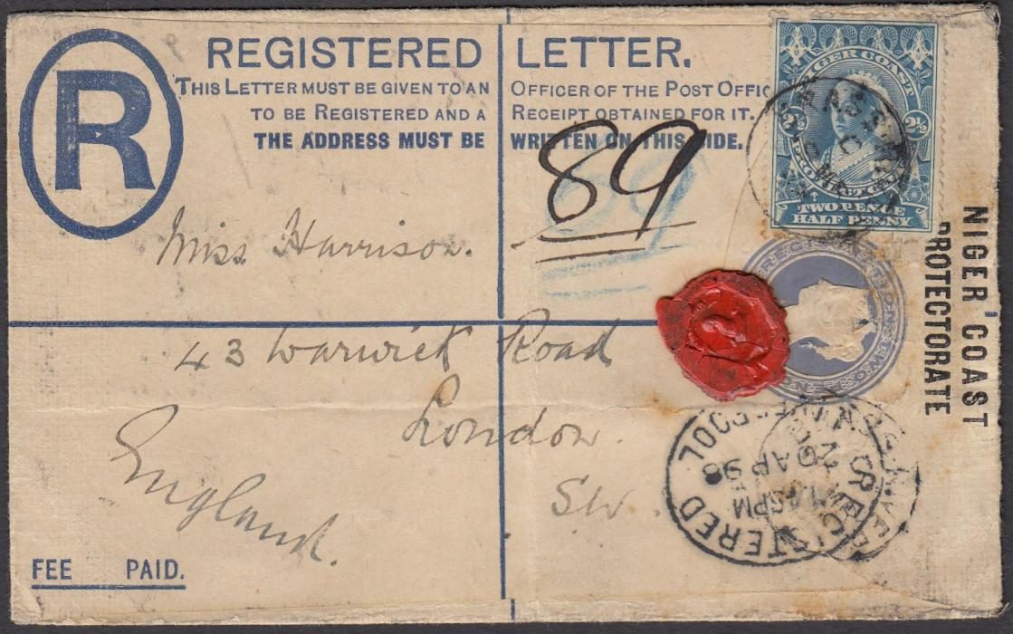 NIGERIA (Niger Coast) 1898 2d registration postal stationery envelope, up-rated 2�d, to London tied BRASS RIVER cds, LIVERPOOL transit and arrival backstamp.