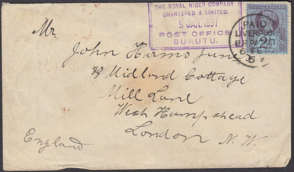 NIGERIA (Niger Coast) 1897 (9 JAN) cover to London franked by Great Britain Jubilee 2�d not tied by framed BURUTU date stamp but tied by PAID/LIVERPOOL/BR PACKET cds which also overstrikes the Burutu cancel; arrival backstamp.