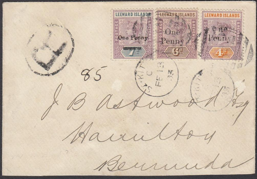 "ST KITTS 1903 registered cover to Hamilton, Bermuda, franked One Penny surcharge on 4d, 6d and 7d tied by ST KITTS duplex, 4d shows variety ""inverted n for u in Penny"", arrival backstamp; part of back flap missing."
