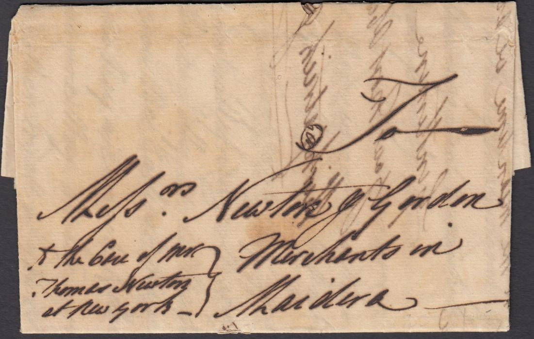 ST KITTS 1763 entire to Madeira re wine imports, sent care of Thomas Newton at New York; good early letter.