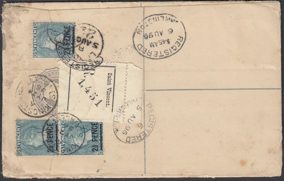 ST VINCENT 1896 postal stationery registration envelope to England, up-rated three 2� PENCE on 1d tied KINGSTOWN cds, LONDON registered transit, re-directed from Kilburn to Darlington with appropriate date stamps.