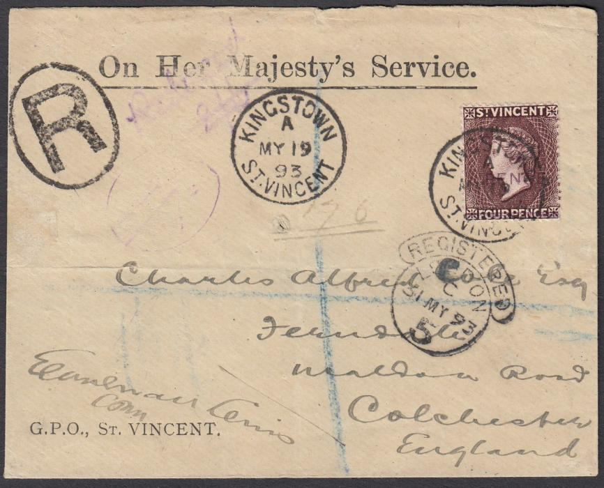 ST VINCENT 1893 registered OHMS envelope to Colchester bearing fine single franking of surcharged 5d on 4d tied KINGSTOWN cds, LONDON registered transit below; arrival backstamp.