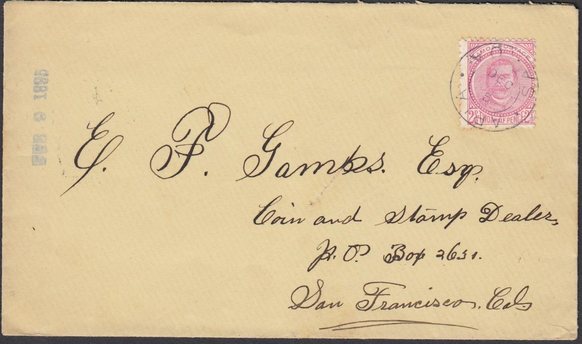 SAMOA 1894 (DEC 5) cover to San Francisco bearing single franking 2�d tied APIA/SAMOA cds showing INVERTED DATE, arrival backstamps; fine and clean.