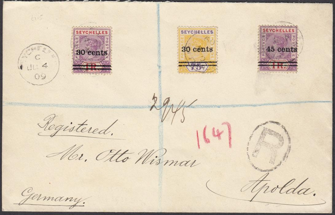 SEYCHELLES 1919 (JU 4) registered cover to Apolda, Germany, franked surcharges 30 cents on 75c and 1R plus 45 cents on 1R tied code C cds, reverse with French maritime LA REUNION A MARSEILLE/L.V. NO.1 date stamp.