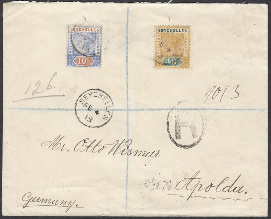 SEYCHELLES 1913 (FE 4) registered cover to Apolda, Germany, franked Queen Victoria 10c and 48c tied cds, reverse with BOMBAY transit and arrival cds.