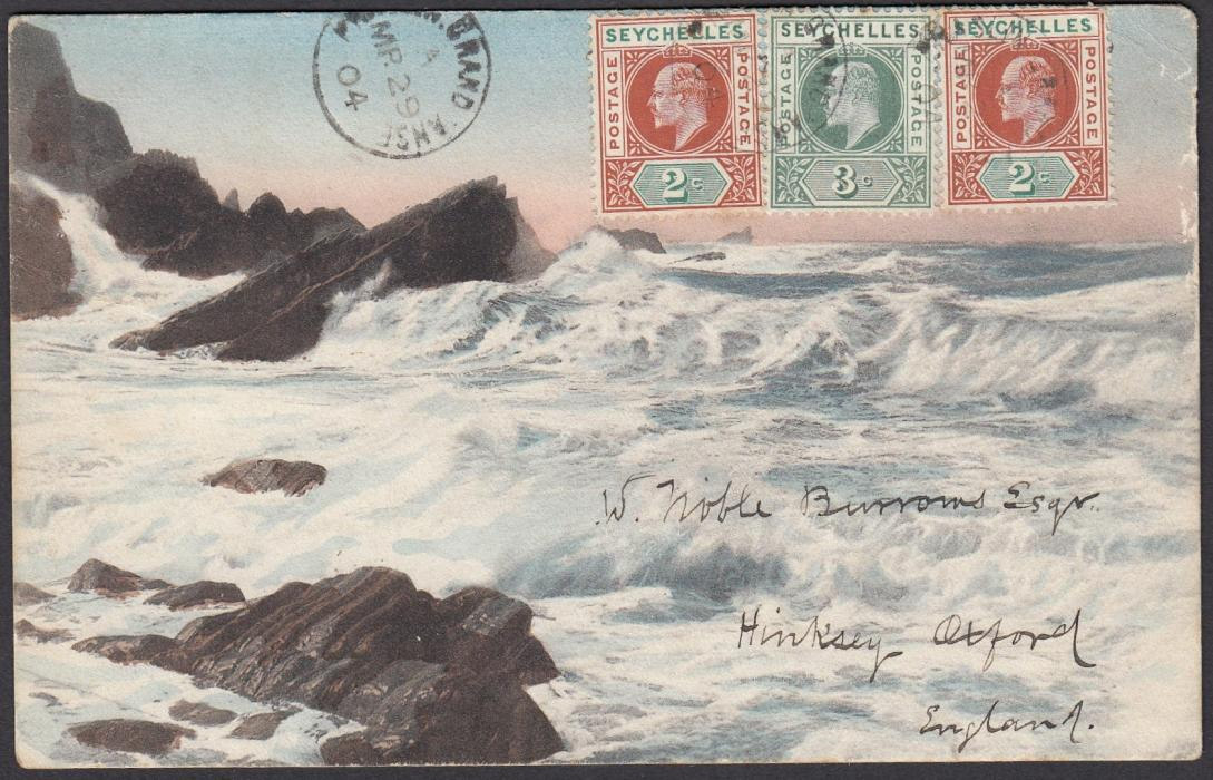 SEYCHELLES 1904 picture post card to England franked 2c (2) and 3c tied by scarce PRASLIN GRAND ANSE cds with another strike to left, SEYCHELLES cds on reverse; good example of usually illegible cds.
