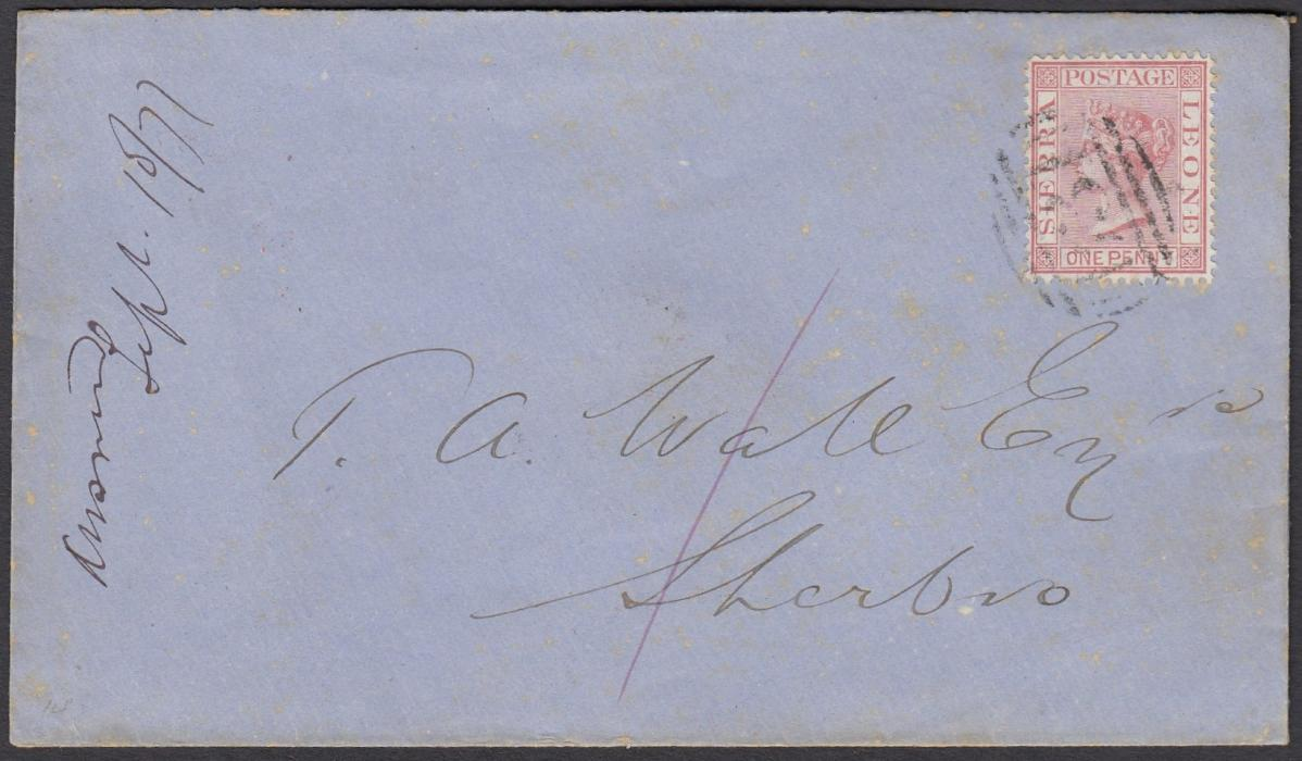 "SIERRA LEONE 1877 internal envelope from Freetown to Sherbo franked 1d tied by B31 barred cancel, also with red manuscript ""1"", reverse with fine PAID-AT-SIERRA LEONE; fine and clean."