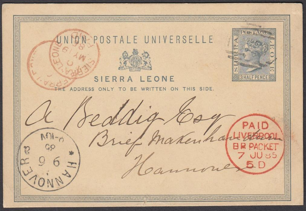 SIERRA LEONE 1885 3 Half Pence postal stationery card to Hannover, Germany, bearing barred numeral cancel and red SIERRA LEONE/PAID cds at left, as well as PAID/LIVERPOOL/BR PACKET transit date stamp; fine and clean condition.