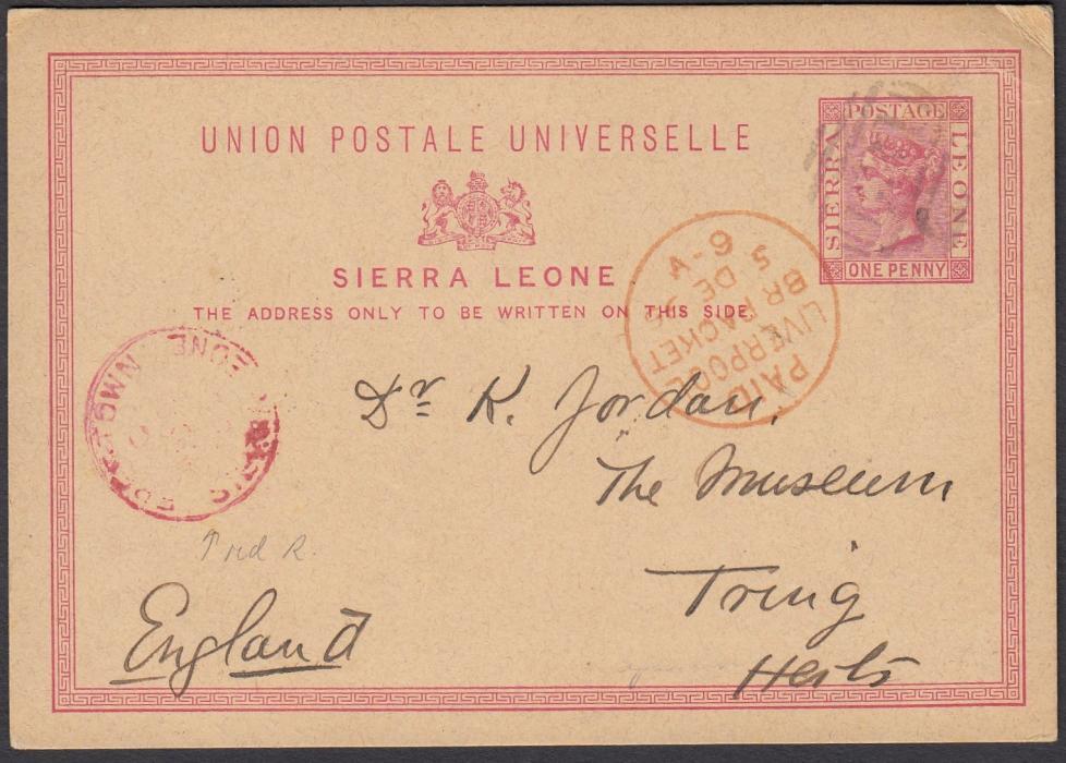 SIERRA LEONE 1895 One Penny postal stationery card to Tring, bearing barred numeral cancel and red FREETOWN/SIERRA LEONE cds at left as well as PAID/LIVERPOOL/BR PACKET transit date stamp; fine and clean condition.