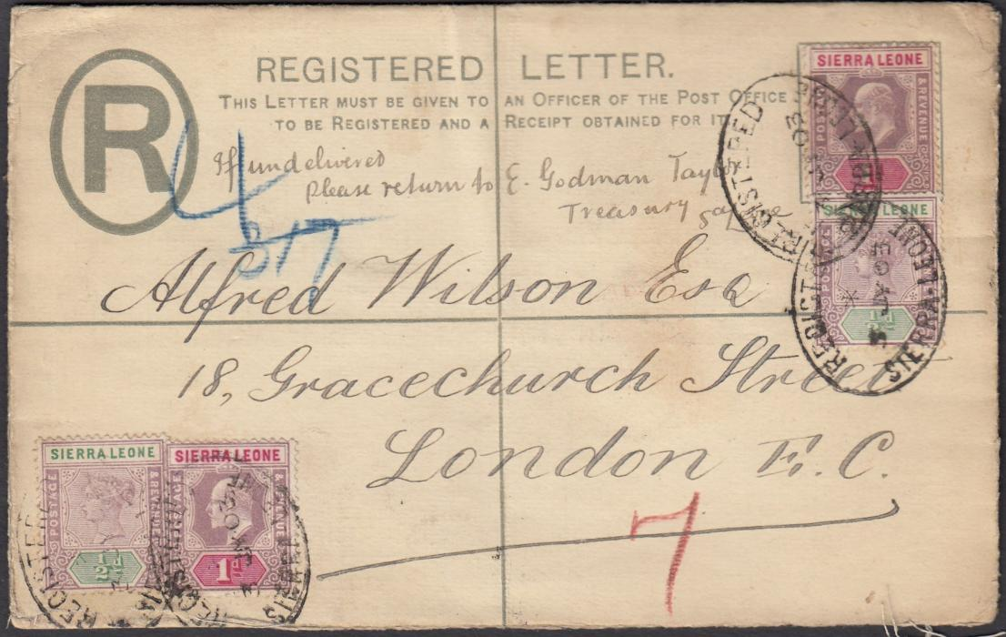 SIERRA LEONE 1903 KEVII 2d registered postal stationery envelope to London up-rated Queen Victoria �d (2) and King Edward VII 1d (2) tied registered date stamps, arrival backstamp; opened out for display.