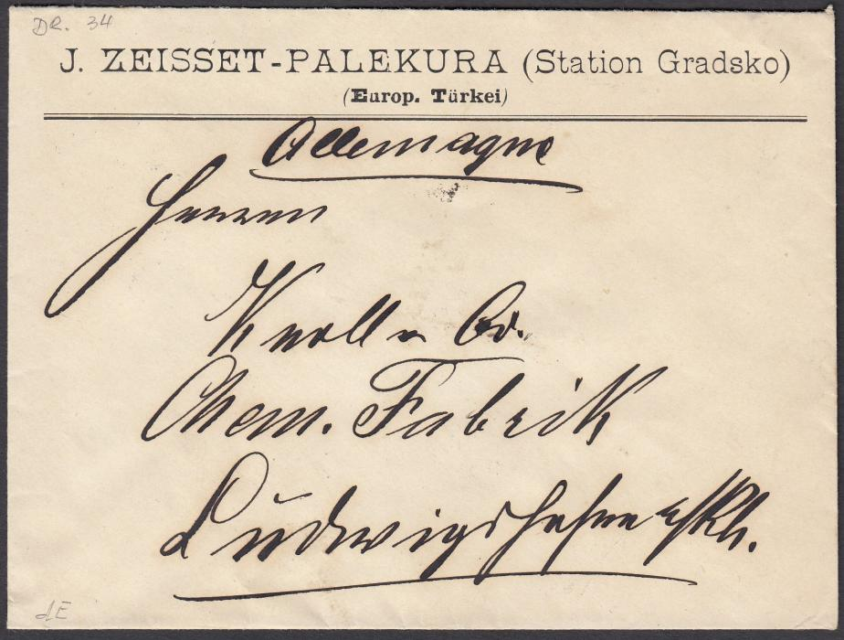 TURKEY (Ottoman Empire-Macedonia) 1892 cover sent from Railway Station Gradsko (Central Macedonia) to Germany. Franked on reverse by 10 para block of four tied by bilingual railway SALONIQUE-ZIBEFTCHE cds.