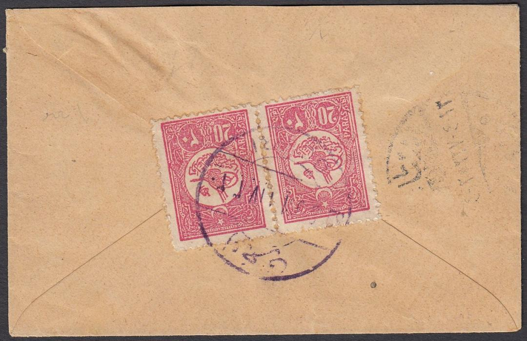 TURKEY (Ottoman Empire - Macedonia) 1911 cover franked on reverse by pair 20pa tied by bilingual OHRI datestamp.