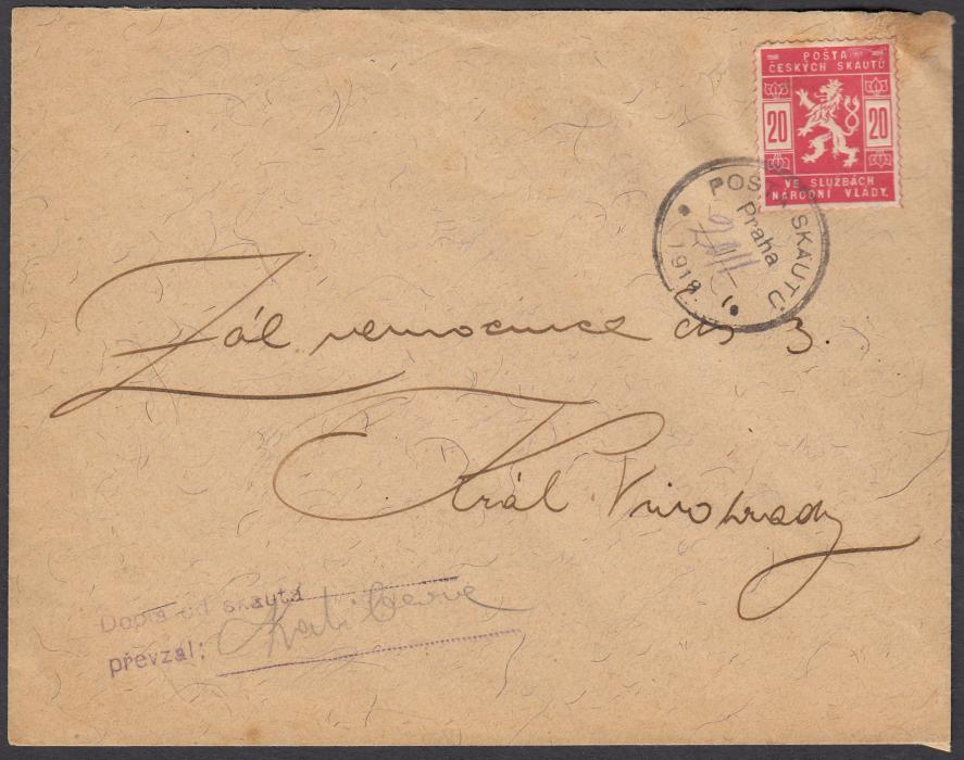 CZECHOSLOVAKIA 1918 (20.XI.) cover franked 20h Coat of Arms tied POSTA SKAUTU PRAHA date stamp with handstamp and signature at lower left; slight staining at top right but still good example of this BOY SCOUT mail.