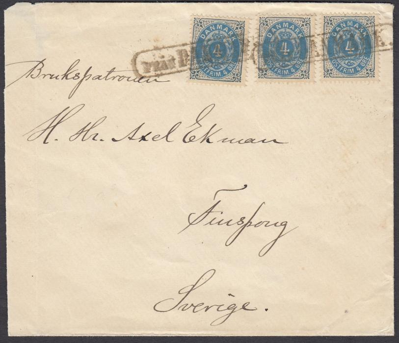 SWEDEN (Maritime) Undated cover to Finsporg franked 3 x 4 ore of Denmark and cancelled boxed