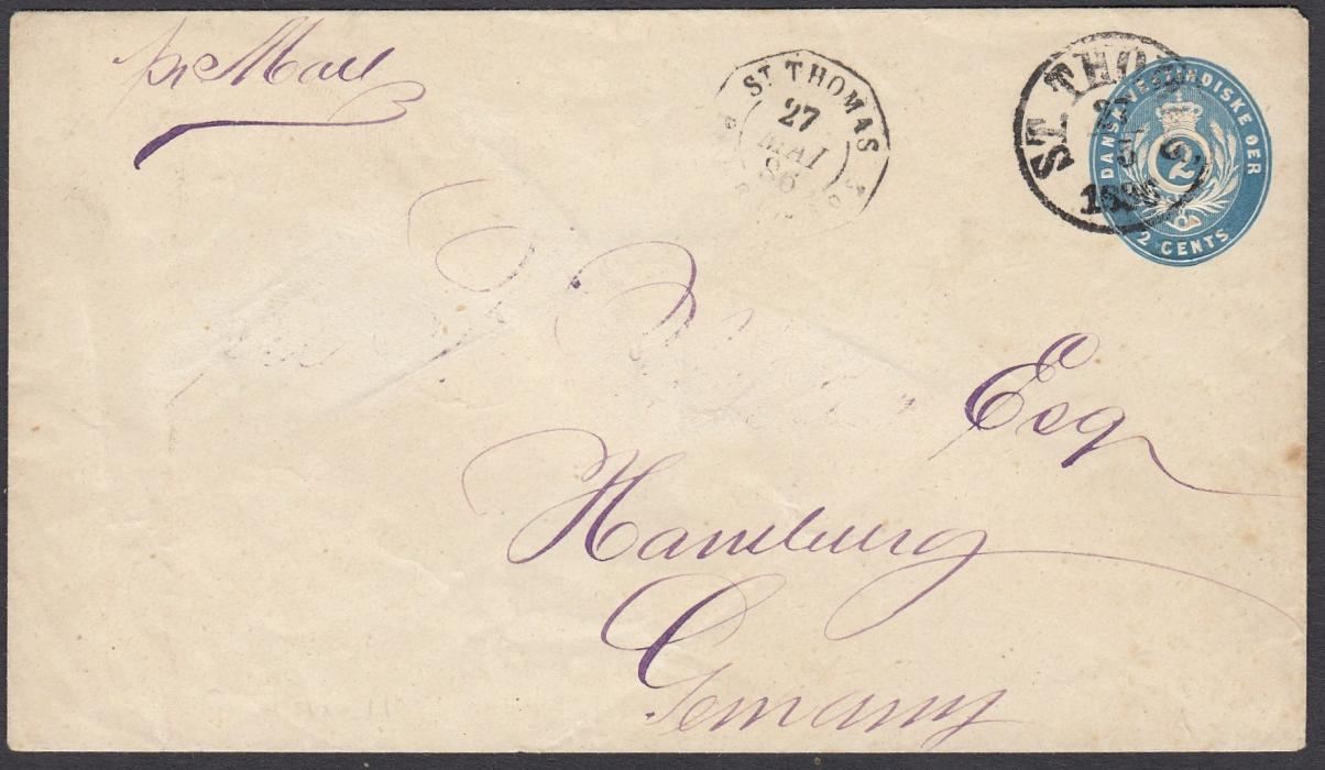 DANISH WEST INDIES 1896 2c postal stationery envelope to Germany cancelled ST THOMAS cds, French maritime cds to left; generally good and clean.